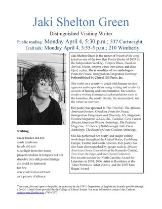 Jaki Shelton Green flier