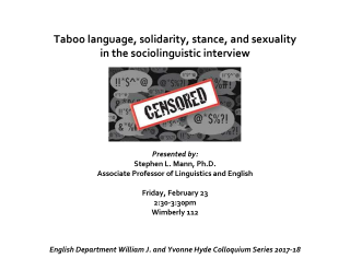 English Department Colloquium Series Flyer Mann 2018