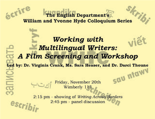 English Department Colloquium - Working with Multilingual Writers