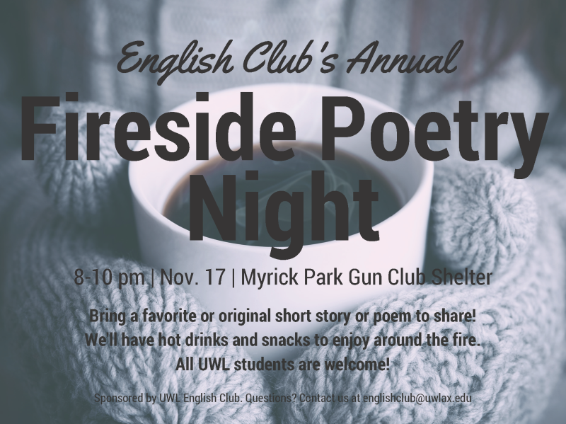 English Club Fireside Poetry Night Flyer
